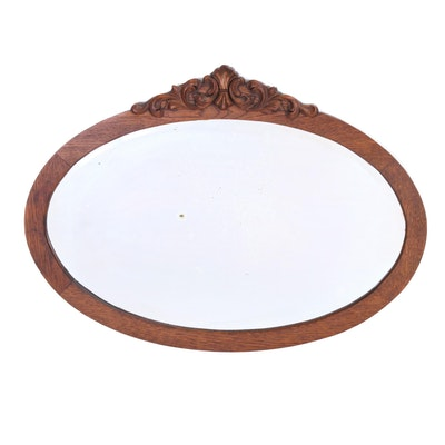 Late Victorian Carved Oak Mirror