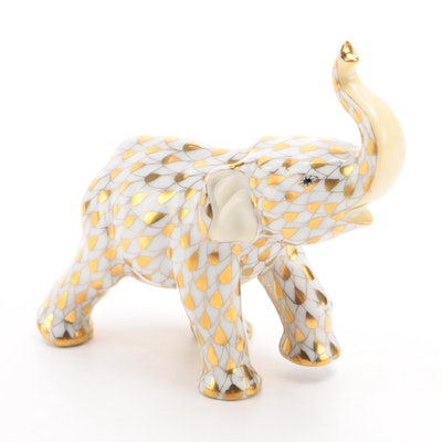 "Herend Guild Gold Fishnet ""Small Asian Elephant"" Porcelain Figurine, June 2001"