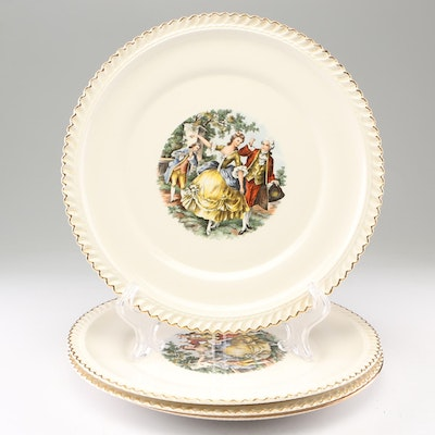 The Harker Pottery Co. and Other 22 KT. Gold Accented Ceramic Plates