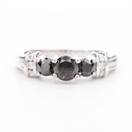10K White Gold Black Diamond and Diamond Ring