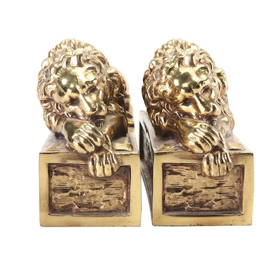 Brass Recumbent Lion Bookends