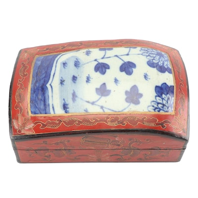 Papier-mâché Trinket Box with Stoneware Lid