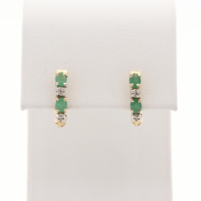10K Yellow Gold Emerald and Diamond Hoop Earrings