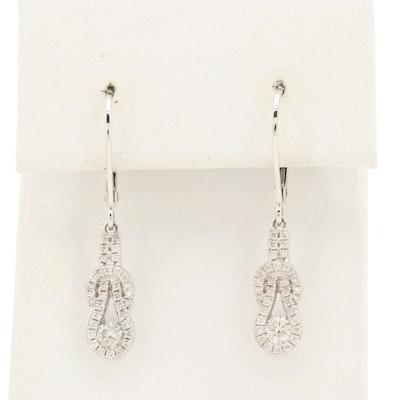10K White Gold Diamond Infinity Knot Dangle Earrings