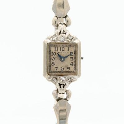 Hamilton 14K White Gold and Diamonds Wristwatch