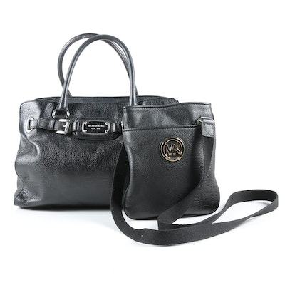 MICHAEL Michael Kors Satchel and Fulton Crossbody in Pebbled Black Leather