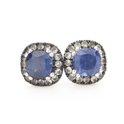 10K White Gold Sapphire Earrings with White Topaz Halos