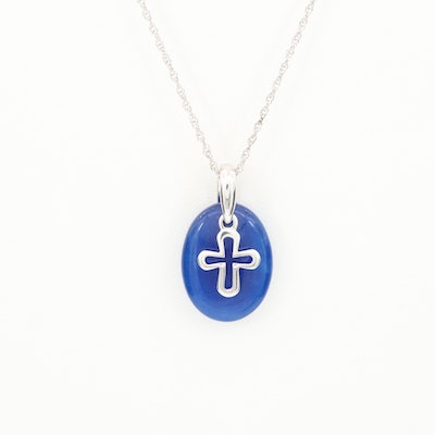 Sterling Silver Quartz Necklace with a Sterling Cross Accent