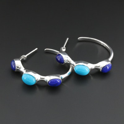 Fine Silver Turquoise and Lapis Lazuli Hoop Style Earrings