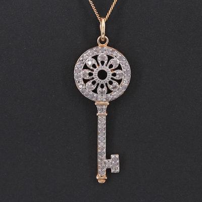 Gold Tone Diamond Key Pendant Necklace