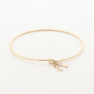 14K Yellow Gold Hinged Bangle Bracelet with Tri-Gold Key Charms