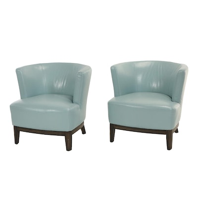 Jason Furniture, Pair of Light Blue Faux-Leather Tub Chairs
