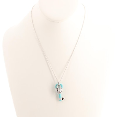 Sterling Silver Magnesite and Diamond Key and Heart Shaped Lock Necklace
