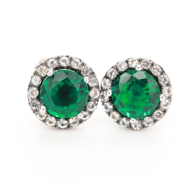 10K White Gold Emerald and Spinel Earrings