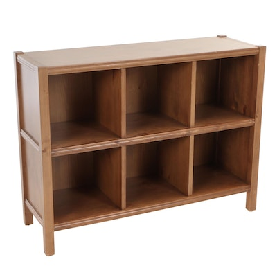 Contemporary Pine-Finished Six-Cube Bookcase