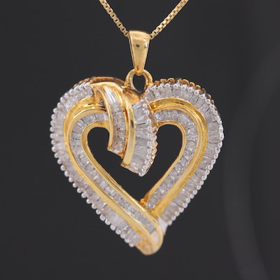 Gold Wash on Sterling Silver Diamond Heart Pendant Necklace