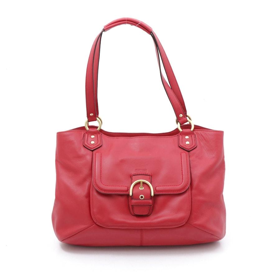 Coach Campbell Red Leather Belle Carryall Shoulder Bag