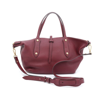 Annabel Ingall Pebbled Leather Convertible Handbag in Merlot