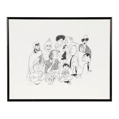"Albert ""Al"" Hirschfeld Caricature Lithograph ""TV Land 5"""