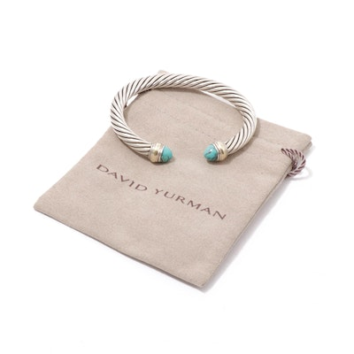 David Yurman Sterling Silver and 14K Yellow Gold Dyed Turquoise Bracelet