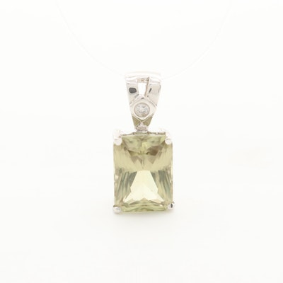14K White Gold Zultanite and Diamond Pendant