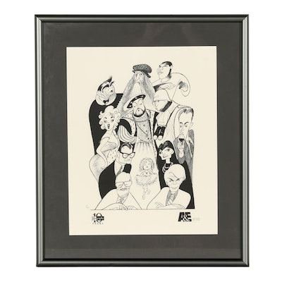 "Albert ""Al"" Hirschfeld Caricature Lithograph ""A&E Biography 10th Anniversary"""