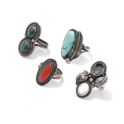 Sterling Silver Mother of Pearl, Malachite, Dyed Coral and Dyed Turquoise Rings