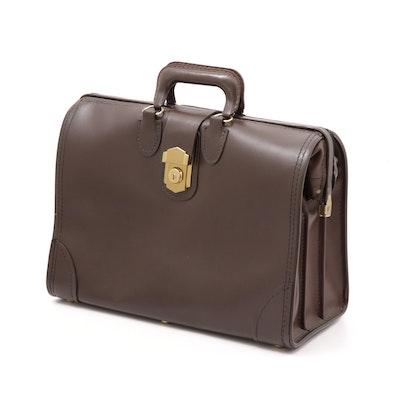 C.H. Ellis Handcrafted Brown Leather Doctors Bag, Vintage