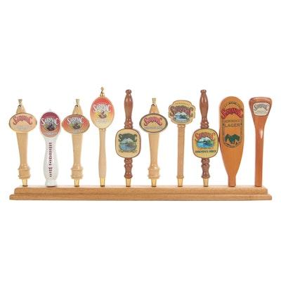 Back Bar Display with Saranac Beer Tap Handles