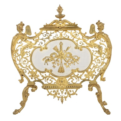French Neoclassical Gilt Brass Fireplace Screen, circa 1800-1830 Antique