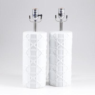 White High Relief Lattice Design Table Lamps, Contemporary
