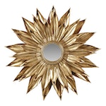 Gold Tone Metal Sunburst Mirror, Late 20th Century