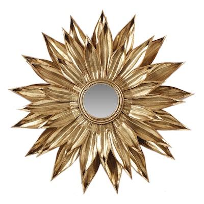 Gold Tone Metal Sunburst Mirror, Late 20th Century