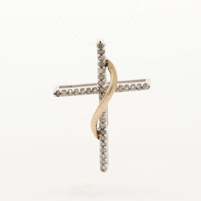 10K White Gold Diamond Cross Pendant with Yellow Gold Accents