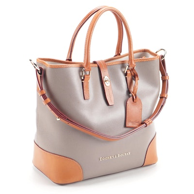 Dooney & Bourke Taupe Pebbled and Tan Leather Shoulder Bag