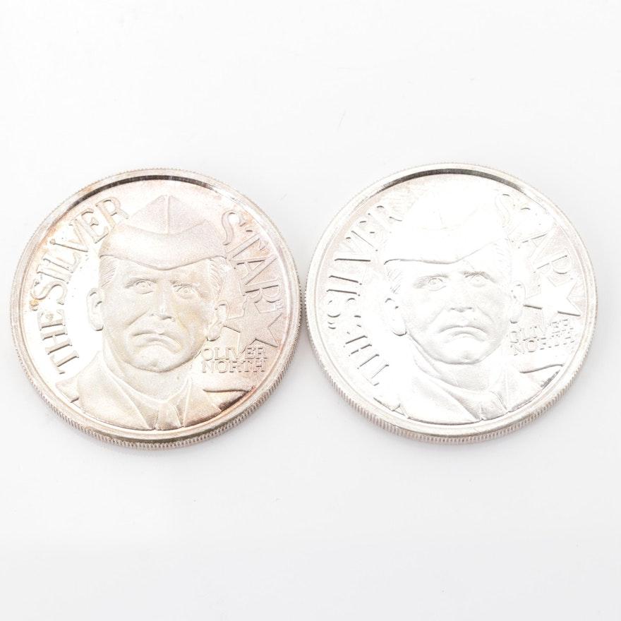 """Oliver North """"The Silver Star"""" .999 Fine Silver Commemorative Coins"""