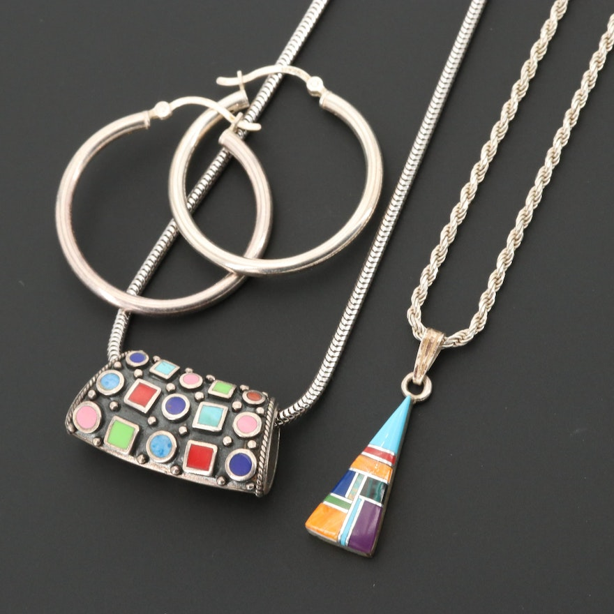 Sterling Silver Necklaces and Hoop Earrings Including Spiny Oyster and Opal