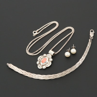 Sterling Silver Necklace, Bracelet and Stud Earrings Including Cultured Pearl