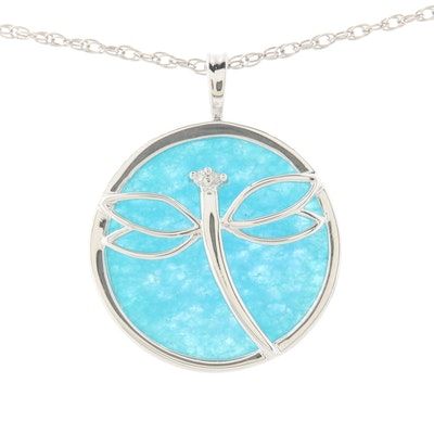 Sterling Silver Quartz Pendant Necklace with Diamond Accented Dragonfly Motif