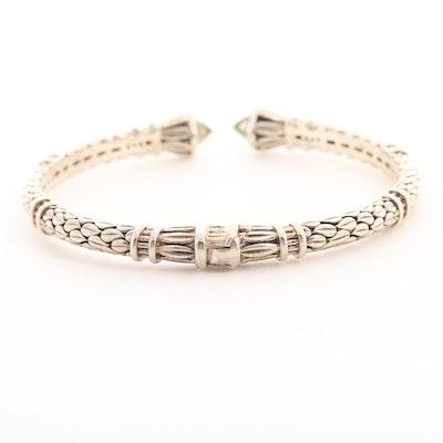 Sterling Silver Praiseolite Hinged Cuff Bracelet
