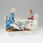 Hand-Painted Porcelain Tea Table Tableau Figurine, Mid-Century