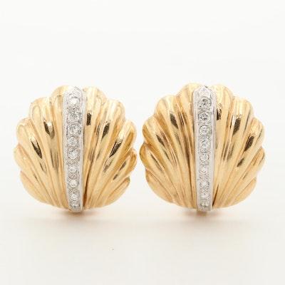 14K Yellow Gold Diamond Scallop Earrings