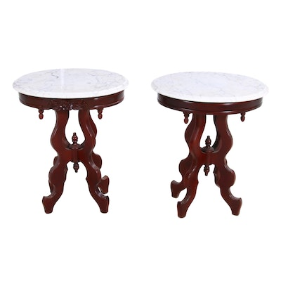 Pair of Victorian Style End Tables, Mid-20th Century