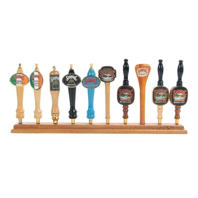 Saranac Beer Tap Handles with Wood Display, Contemporary