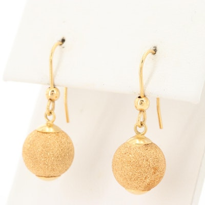 14K Yellow Gold Sphere Dangle Earrings