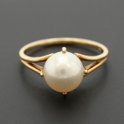 Vintage Mikimoto 14K Yellow Gold Cultured Pearl Ring