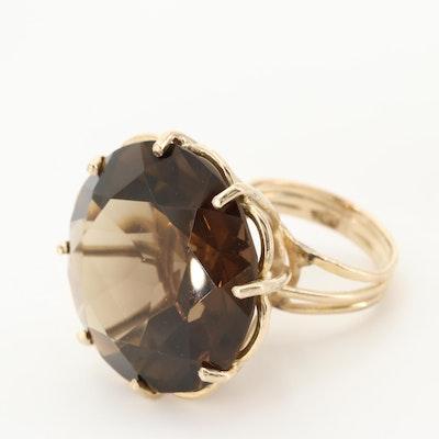 Vintage 14K Yellow Gold Smoky Quartz Ring