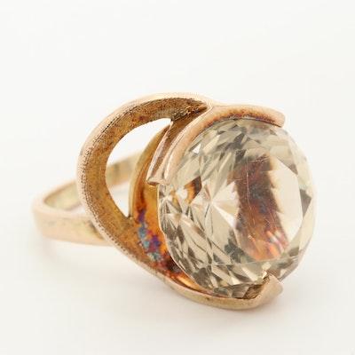 Vintage 10K Yellow Gold Smoky Quartz Freeform Ring