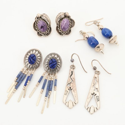 Assorted Southwestern Style Sterling Earrings with Charoite and Lapis Lazuli