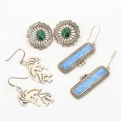 Southwestern Style Sterling Earrings Featuring Sarah Dickens Navajo Diné